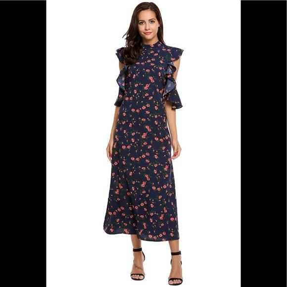 Acevog Dresses & Skirts - NWT High-Neck Vintage-Style Ruffle Maxi Dress